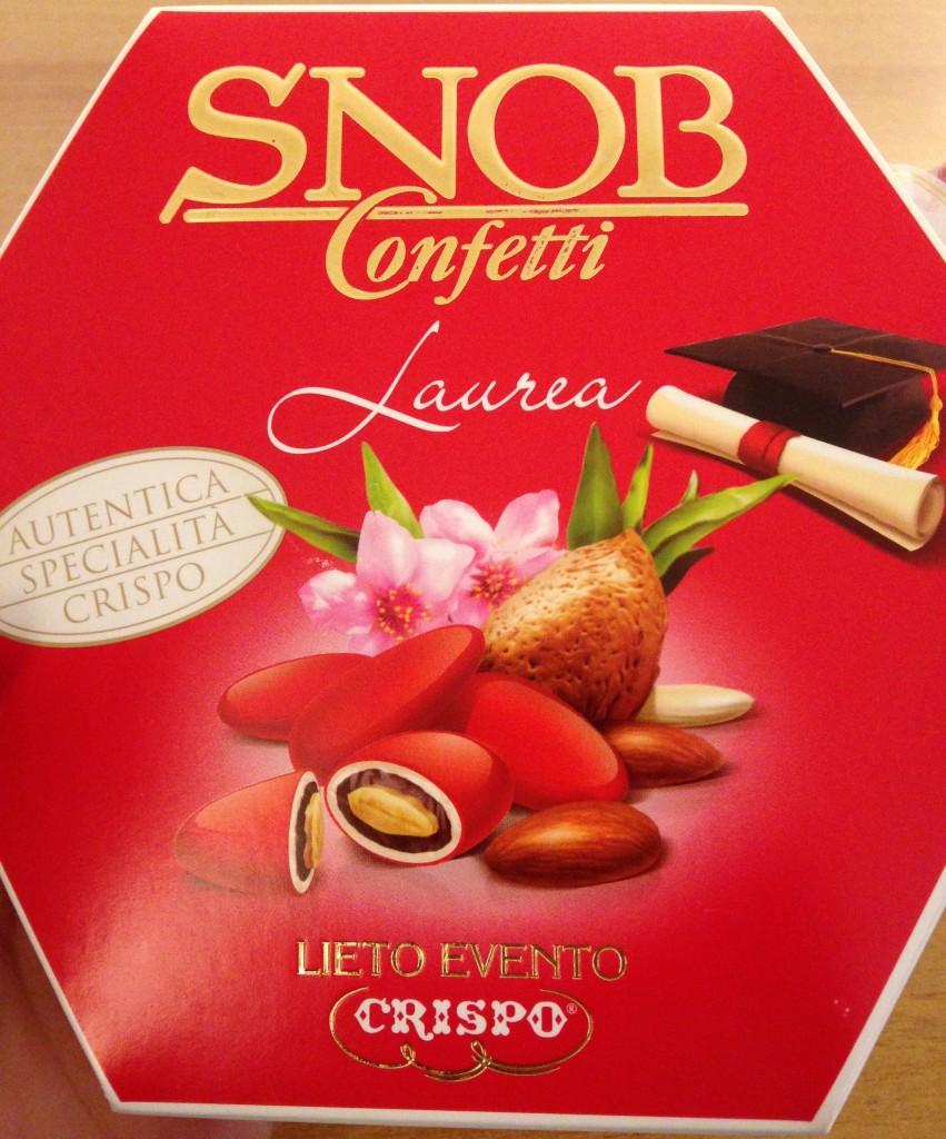 Snob confetti for graduates, Italy