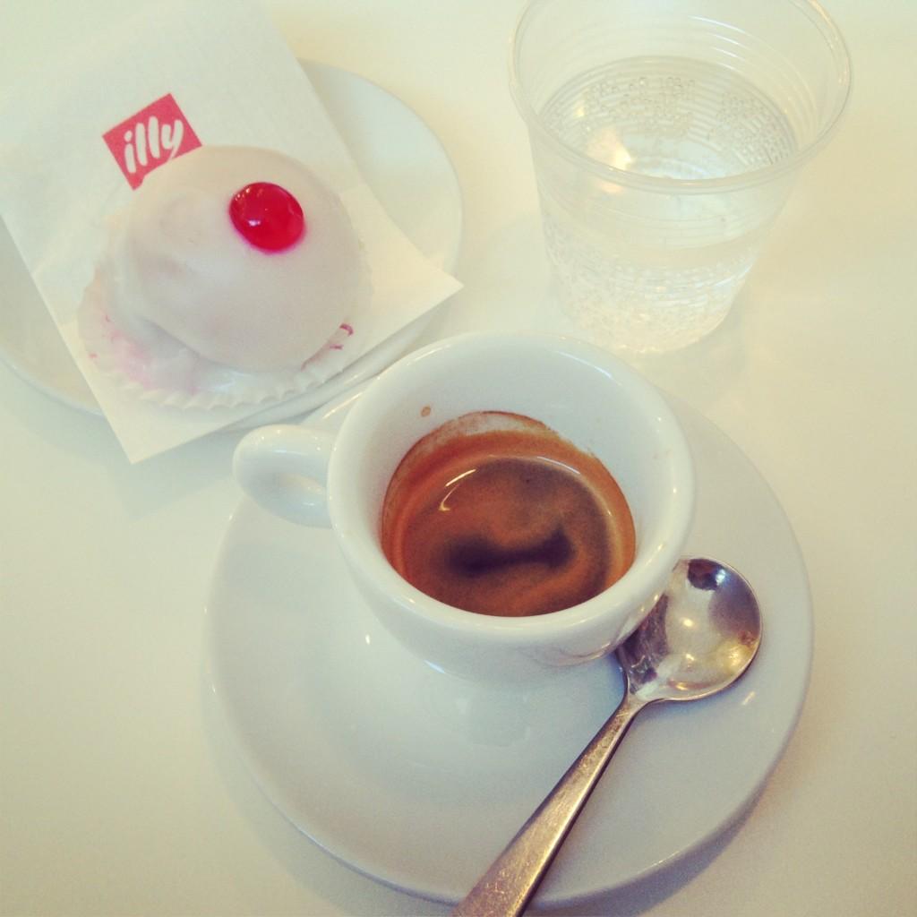 Espresso with a sospiro pastry, Italy.