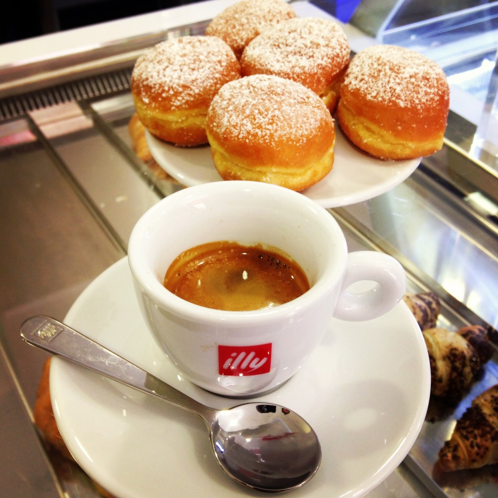 Espresso with bomboloni, on Ms. Adventures in Italy by Sara Rosso